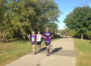 Angie, Jason, and I running happily